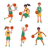 Children's sports basketball. Flat design concept with funny kids playing ball. Vector illustration of boys and girls, set isolated on white background.