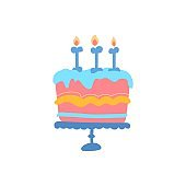 multi-colored vector illustration of dog cakes. Cupcakes for the party Your dog's birthday. multi-colored candles on the cake
