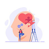 Doctor helping patient with mental health treatment. Concept of  World Mental Health day, psychology therapy, brain care. Vector illustration in flat cartoon design