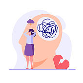 Sad woman in depression. Concept of Mental health problem and issues, psychology therapy, brain care. Vector illustration in flat cartoon design