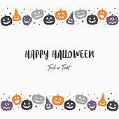 Background with creepy pumpkins. Halloween greeting card. Vector