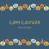 Background with funny pumpkins and wishes. Halloween card. Vector