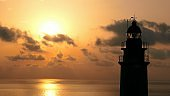 Lighthouse on Rocky Cliff with Spectacular Clouds on Mallorca at Sunrise