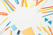 Flat lay school and office supplies on a white background