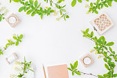 Flat lay composition with branches and green leaves on a white background