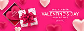 Valentines day sale web banner. Realistic gift box with bow and heart. Banner for holiday poster, greeting cards, header, landing page, website, online shop, commerce, marketing