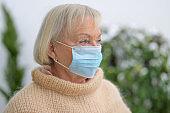 Despondent senior woman during the pandemic