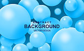 Abstract background with falling 3d balls. Dynamic flying color bubbles, futuristic composition with glossy spheres. Modern trendy banner or poster design. Realistic vector.