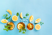 Iced tea with lemon slices, mint and ice