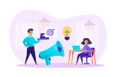 Advertising, marketing and promotion concept. Creative teamwork at office scene, develop success business strategy, attracts buyers, investors. Vector illustration of people characters
