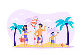 Family at beach scene. Father, mother and son having fun on sandy shore. Summer time vacation, tropical resort, parenting and childhood concept. Vector illustration of people characters