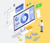Finance management concept isometric. Flat 3d vector isometric ilustration high quality isolated on background.