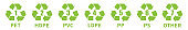 Green recycle Mobius vector icons set. Plastic recycling symbols.