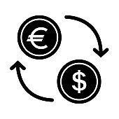 Currency exchange vector icon. Dollar euro transfer sign on white background.