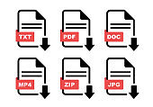 File type icon set. Format of documents. File extensions. Simple file type and document in flat style.