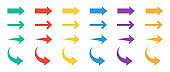 Arrow colors icons set. Collection colored arrow. Modern flat simple arrows isolated. Cursor sign.