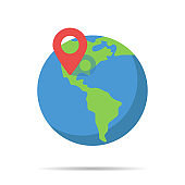 Earth globe with pin location in flat style. Search icon. World map icon.