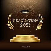 2021 graduation ceremony banner. Award concept with academic hat, golden podium and laurel wreath under shining glitter on dark background.