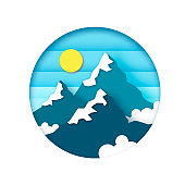 Snow Mountain Peaks. Landscape paper cut style. Sun, Sky and clouds. Circle frame.