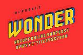 Trendy 3d comical design, colorful alphabet, typeface