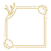 Vintage decorative gold frame it is isolated on a white background.