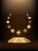 Golden podium with stars glowing. Gold stage with glitter and light smoke on dark background. Hollywood fame in film and cinema or championship in sport vector illustration