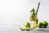 Refreshing drink with lime, mint and ice in tall glass.