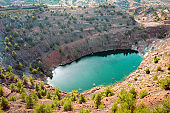 Toxic lake in open pit of abandoned Apliki copper mine, Cyprus