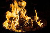 Close-up of a burning campfire at night
