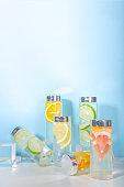 Various summer infused water bottles