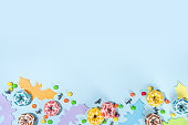 Trendy bright colorful Halloween background