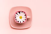 Pink concept. Empty square coffee cup with flower on saucer on pink background. Top view