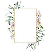 Watercolor gold frame with white orchids and eucalyptus branch. Hand painted tropical border with flowers and leaves isolated on white background. Floral illustration for design, print, background.