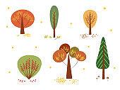 Set autumn trees on isolated white background
