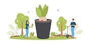 Spring Reforestation concept. Forest restoration, reforestation planting trees, environment day.