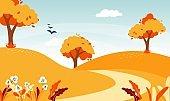 Autumn road landscape. Natural forest foliage illustration.