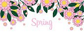 Spring banner with paper flowers. Blossom frame greeting card.
