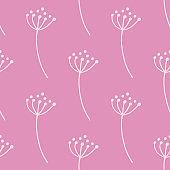 Decorative white contoured rowan berry shapes seamless pattern. Pastel pink background.