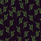 Random green leaf branches seamless pattern. Contrast little ornament style. Black background.