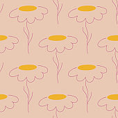 Yellow outline chamomile flowers seamless pattern in floral style. Pink pale background. Abstract nature backdrop.