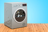 Clothes dryer on the wooden planks, 3D rendering