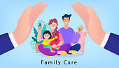 Poster Family Protection with Children. Human hands above parents couple and children. state protection, assistant topics. Vector illustration for hygiene.