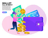 Mobile banking concept. people standing near credit cards. Woman with big wallet and stack of coin, online payment, e transfer digital wallet vector illustration.