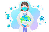 Doctors protect the spread of Coronavirus and Covid-19 by staying home. Coronavirus. World Wearing Mask. Vector design EPS10.