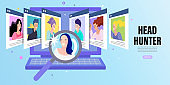 Choosing Best Candidate for Job. Human resources web banner or landing page. Flat vector illustration.