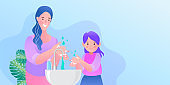 woman and girl washing hand. Protection against infections and viruses. Hygiene concept. Cartoon people character isolated illustration.