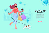 Pretty girl with shopping bags. Woman use online shopping services. Smartphone marketing and e-commerce. Vector illustration.