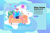 Young woman working from home during Covid-19. All stay at home. Self-isolate from a pandemic. Remote work from home during Quarantine. Vector flat illustration. EPS10