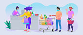 Supermarket store counter cashier and buyers in medical masks, with cart of food. coronavirus pandemic concept. Social distancing.