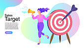 Sales target concept. woman holding a megaphone. influencer marketing concept - blogger promotion services and goods for her followers online. Vector illustration in flat simple style.